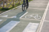 Partial view of man riding bicycle in bicycle lane