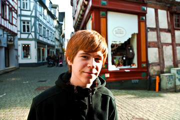 cute boy likes to visit the old city
