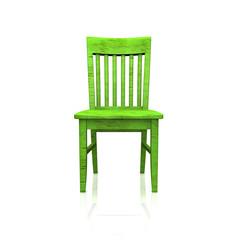 Der grüne Holzstuhl - isoliert