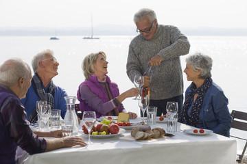 Five senior friends having lunch beside a lake