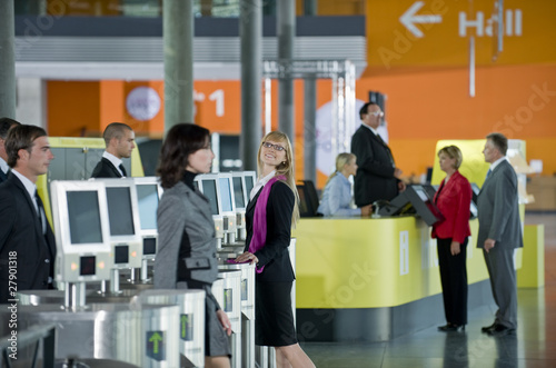 Businesspeople entering a conference centre