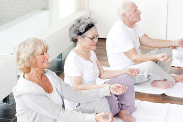 A group of seniors taking a yoga or meditation class