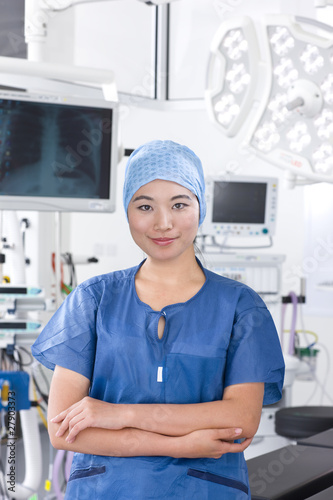 Surgeon standing in hospital operating room