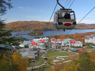 Mont Tremblant gondola, lake and village in autumn