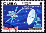 Cuban Post Stamp Satellite Dish Communication Outer Space Stars poster