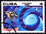 Stamp Satellite Studying Earth Astrophysics Outer Space poster