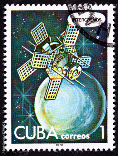 Cuban Post Stamp Intercosmos Satellite Orbiting Planet in Space
