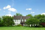 Suburban Maryland Single Family Home Lawn Trees Tudor Revival poster