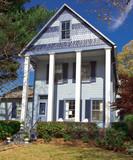 Suburban Single Family Home Folk Victorian Greek Revival USA poster