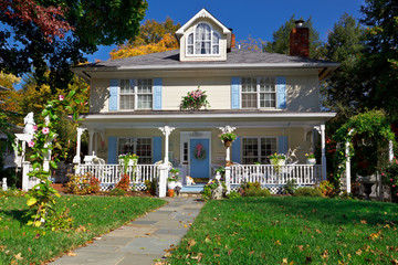 Suburban Single Family Home Pastel Prairie Style Home Autumn USA