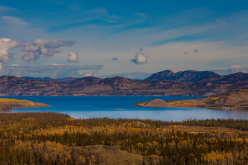 Lake Laberge and surrounding taiga in fall