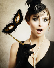 Surprised Retro Woman. Masquerade