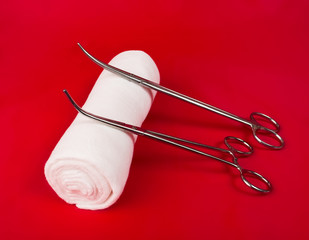 bandage with a surgical instrument