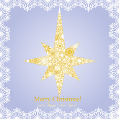 Christmas golder star mage from snowflakes, vector