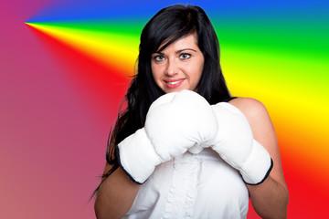 Junge Frau mit Boxhandschuhen 114hbunt