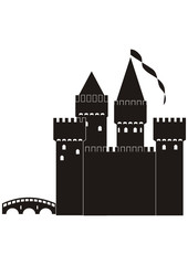 Knight's castle of black silhouette
