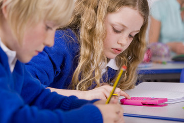 School children doing mathematics in classroom