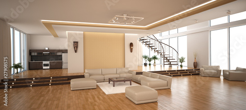 Modern interior of a drawing room - 27908575