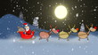 Santa Claus and reindeers hurrying for Christmas