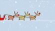 Crazy Santa Claus runs after his sled with reindeers