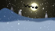 Silhouette of Santa Claus and reindeers flying at night