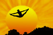 silhouette illustration on trampoline in sun