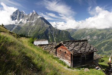 Hamlet of Mayens de Motau in the Swiss Alps