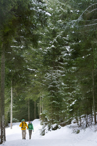 Couple backpacking in snowy woods