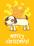 funny christmas card with dog