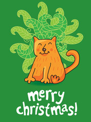 funny christmas card with cat