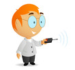 Cartoon vector little scientist with remote control