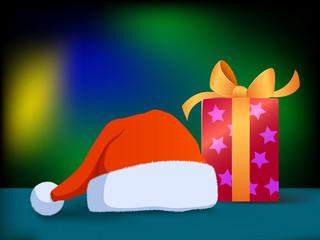 Vector cartoon christmas hat and gift box