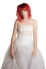 Pretty woman posing on a white background