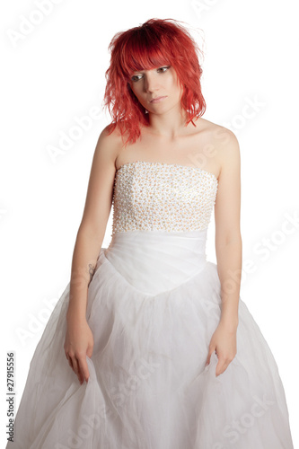 Pretty woman posing on a white background