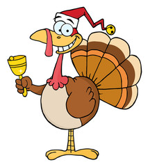 Turkey Cartoon Character Ringing A Bell