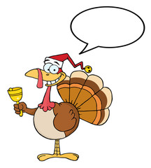 Turkey Cartoon Character Ringing A Bell With Speech Bubble