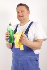 Eine fröhliche Reinigungskraft