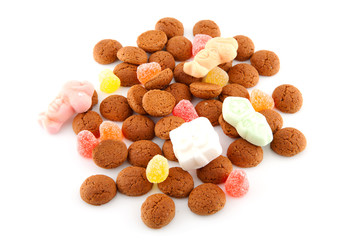 Typical dutch sweets: pepernoten over white background