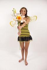 Bienchen verkauft Blumen