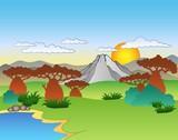 Fototapety Cartoon African landscape
