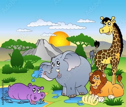 afrykanski-krajobraz-z-czterema-zwierzetami