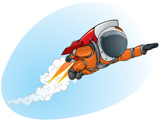 astronaut flying on the rocket