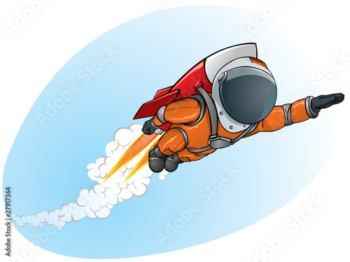 astronaut flying on the rocket - 27917364