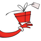 Fototapety Santa's hand with a gift