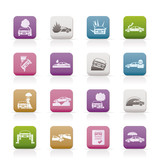 car and transportation insurance and risk icons poster