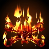 Vector Metal Jolly Roger in flame