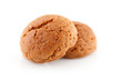 Two  pepernoten (ginger nuts) in closeup over white background