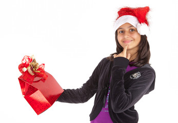 Young girl happy for Christmas.