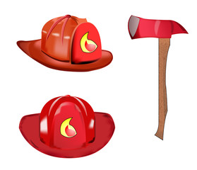 Vector of fireman equipment