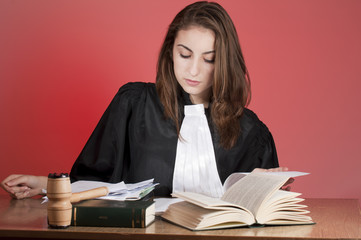 Young judge studying